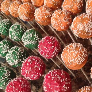 Red, Green & Orange Cake Pops